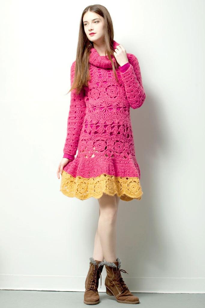 QUEEN DRESS $220.- crochet in pink & yellow by Espiritu Folk.