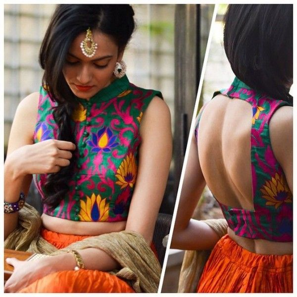 Sleeveless high neck blouse design with multi colored resham work