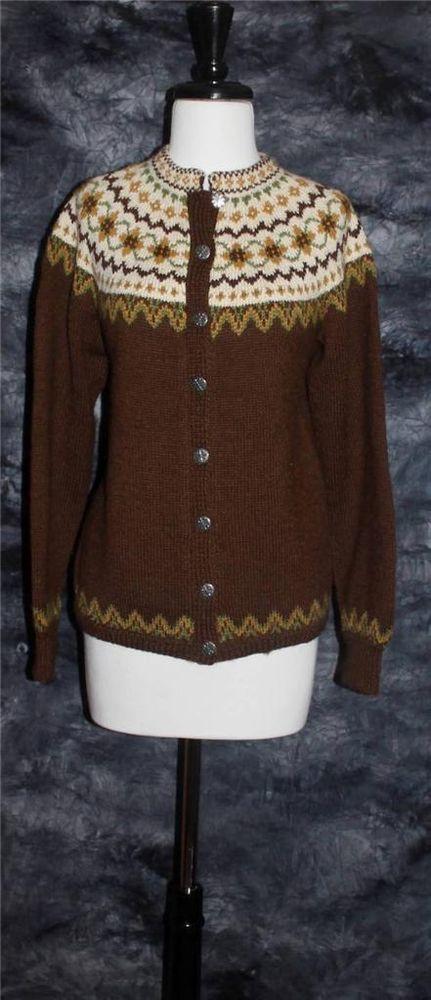 Vintage SIRIL Handknit Wool Norway Nordic Cardigan Olive Green,Gold, Brown EUC #Siril #Cardigan