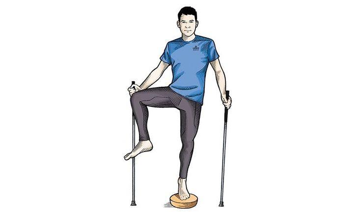 Rotações de quadril  Com o antepé esquerdo sobre um disco de estabilidade, eleve o joelho direito em direção ao peito. Gire o quadril direito a 90 graus para cada lado, mantendo o joelho o mais alto possível. Faça três séries de 15 rotações com cada lado do quadril.