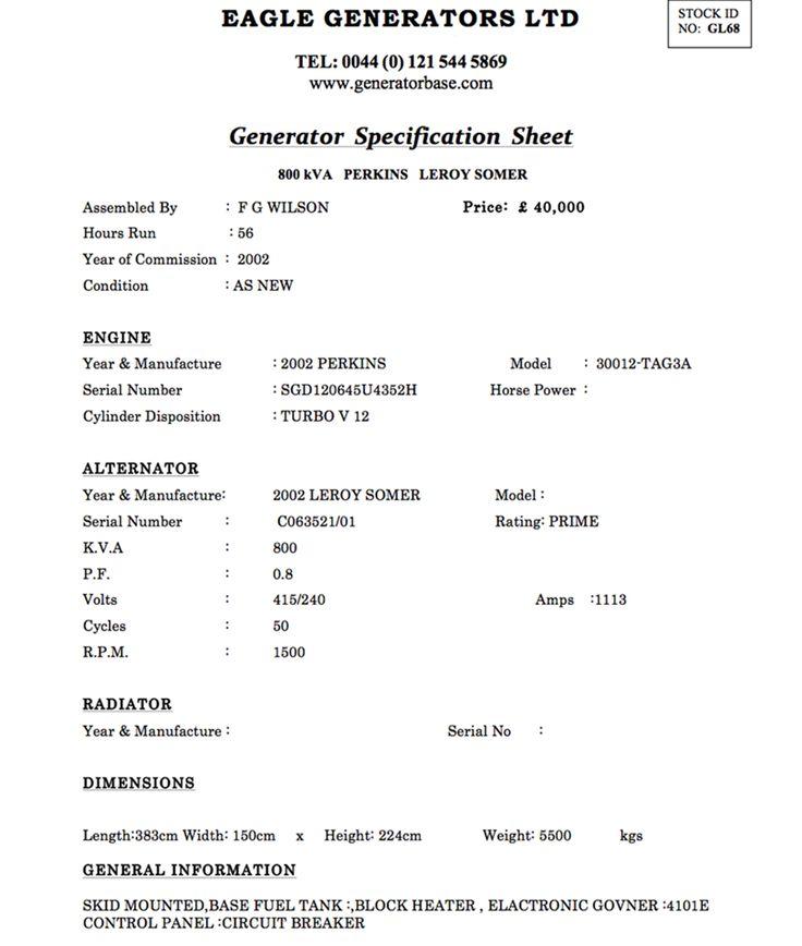 800 KVA As Good As New FG WIlson Diesel Generator For Sale at Generator Base More Details On  http://www.generatorbase.com/perkins-leroy-somer-800-kva-gl68.html