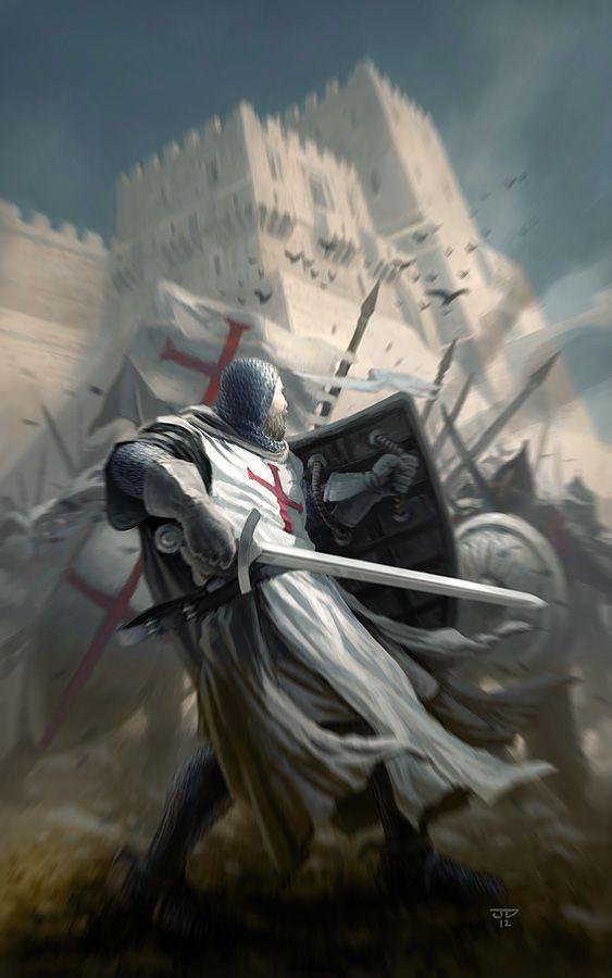 Caballero templario combatiendo bajo lo que podría ser la Torre de David. Más en www.elgrancapitan.org/foro