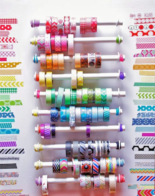 Rows of washi rainbows dazzle on your craft corner's wall, and help you find any pattern with just a glance.