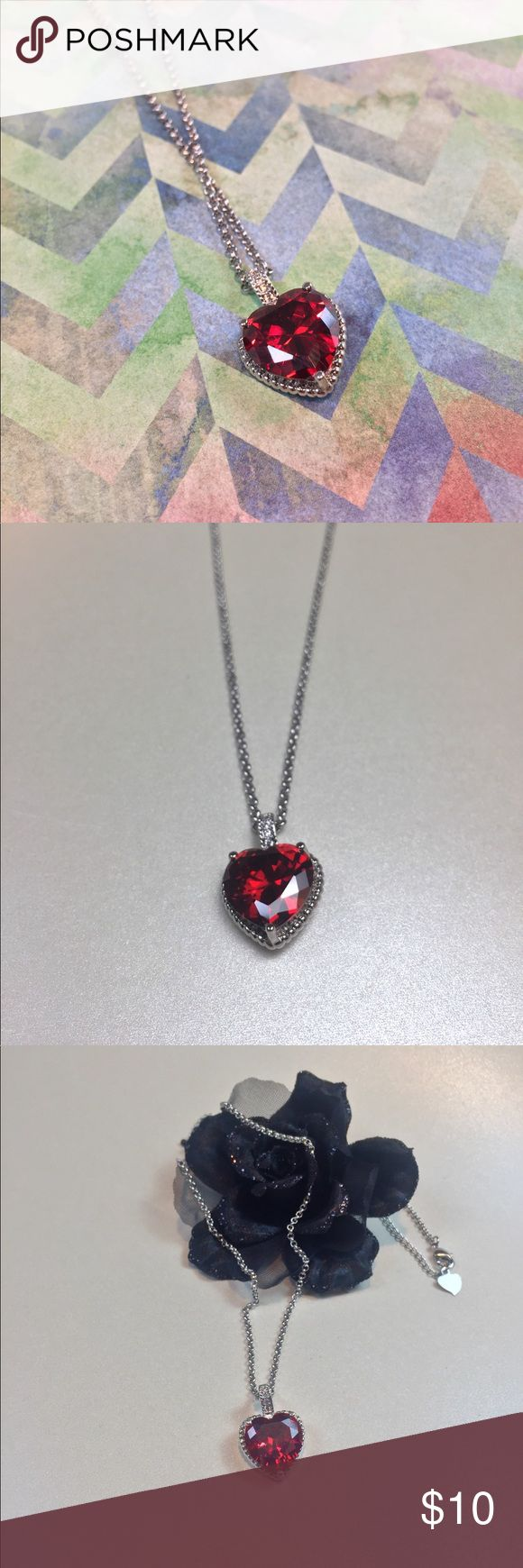 Red Rhinestone Heart Fashion Necklace Adorable fashion necklace with a ruby red ❤️ rhinestone and clear crystals  Brand unknown Jewelry Necklaces