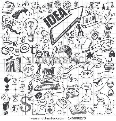 Business Doodles Stock-Vektorillustrationsnummer: 145898270 : Shutterstock