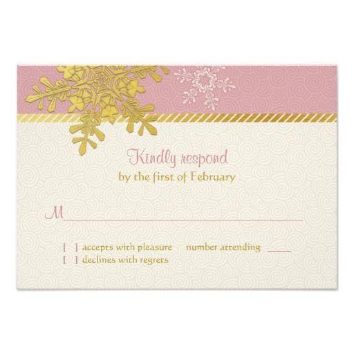 Pink Gold Snowflake Winter Wedding Reply Card Custom Invites