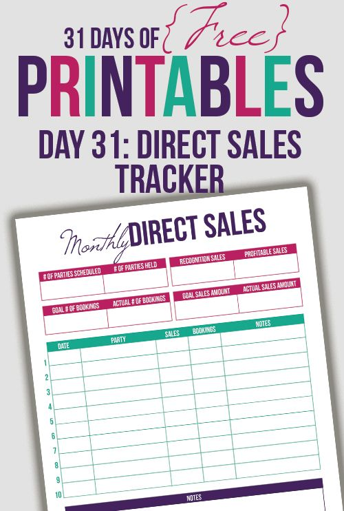 direct sales tracker printable day 31
