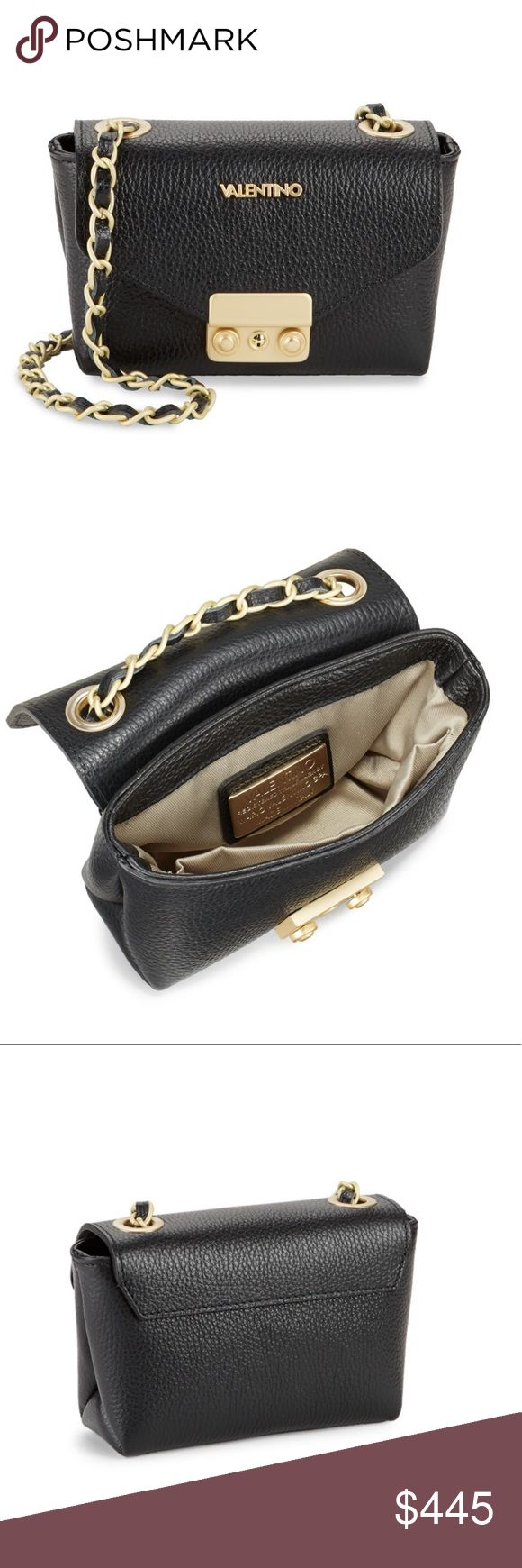 🔥SALE Valentino Leather &Gold Chain Crossbody Bag Valentino Black Leather & Gold Chain Crossbody Bag • Gorgeous Genuine Leather • Gold tone Hardware • Details and measurements in the last photo. Gorgeous bag! Brand new with tags & authenticity card. Mario Valentino Bags Crossbody Bags