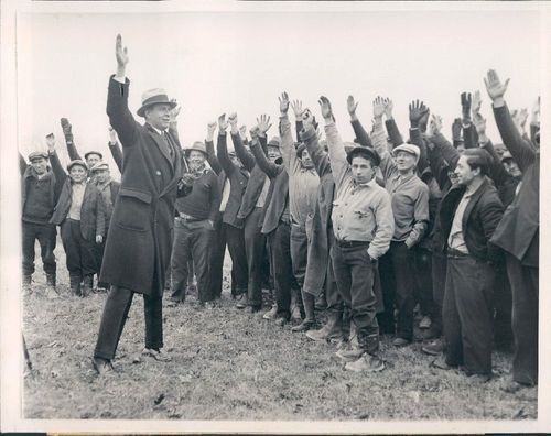 Wire Photo of Blauvelt New York Great Depression Unemployment Camp. Photo dated Feb 4, 1933. It shows the camps General Pelham Glassford and men giving three cheers for the organizer of the camp. | eBay