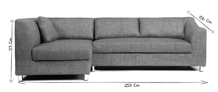 Canapé d'angle convertible gris (angle gauche) MIAMI - Miliboo