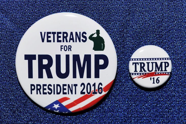 Donald Trump Veterans for Trump President 2016 TWO Buttons Republican GOP