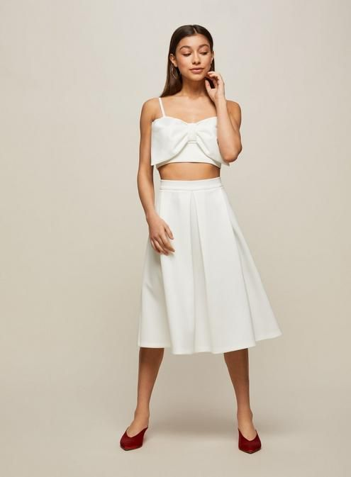 8ae6938f214b7 PETITE Scuba Bow Cropped Top Co-Ord