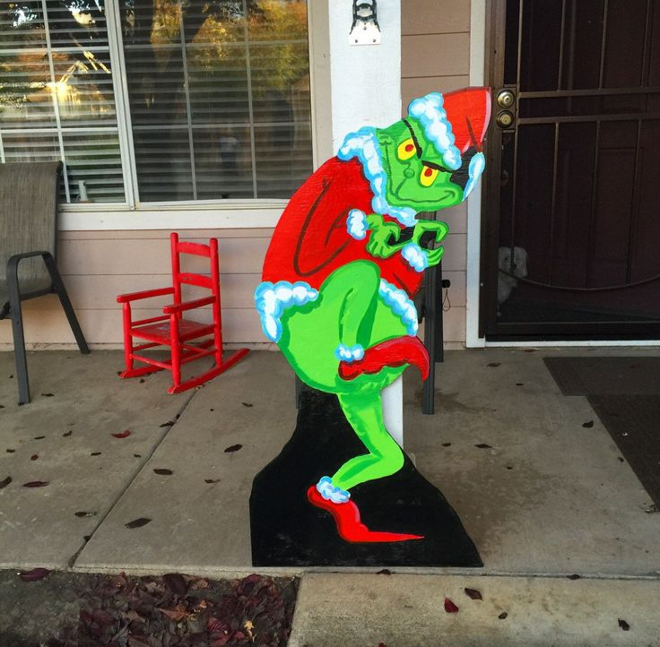 Grinch Cutout Wood Grinch Cutout-Outdoor Grinch by CreativChick