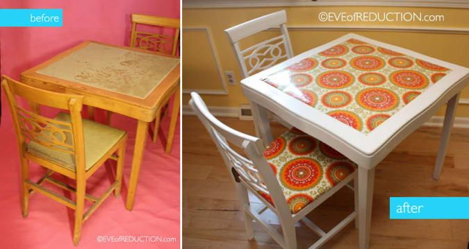 Card Table Makeovers — Retro Card Table Redo                                                                                                                                                      More