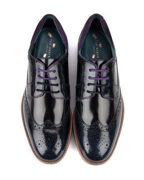 los angeles 0864d fba42 High shine leather brogue in navy with purple laces from Ted Baker · Zapatos  Para HombresEjecutivoAzulBlancoPonerseEncaje ...