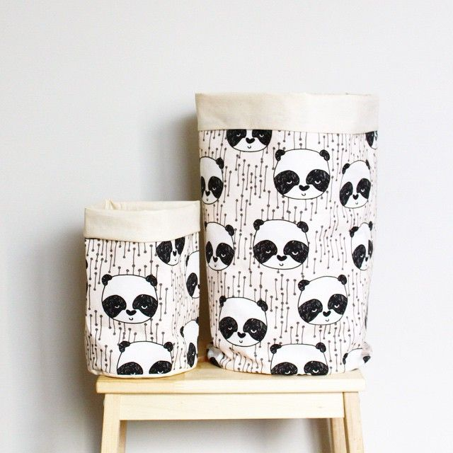 Instagram photo by @pipandsox (pipandsox) - fabric buckets by pipandsox - panda print by Andrea Lauren