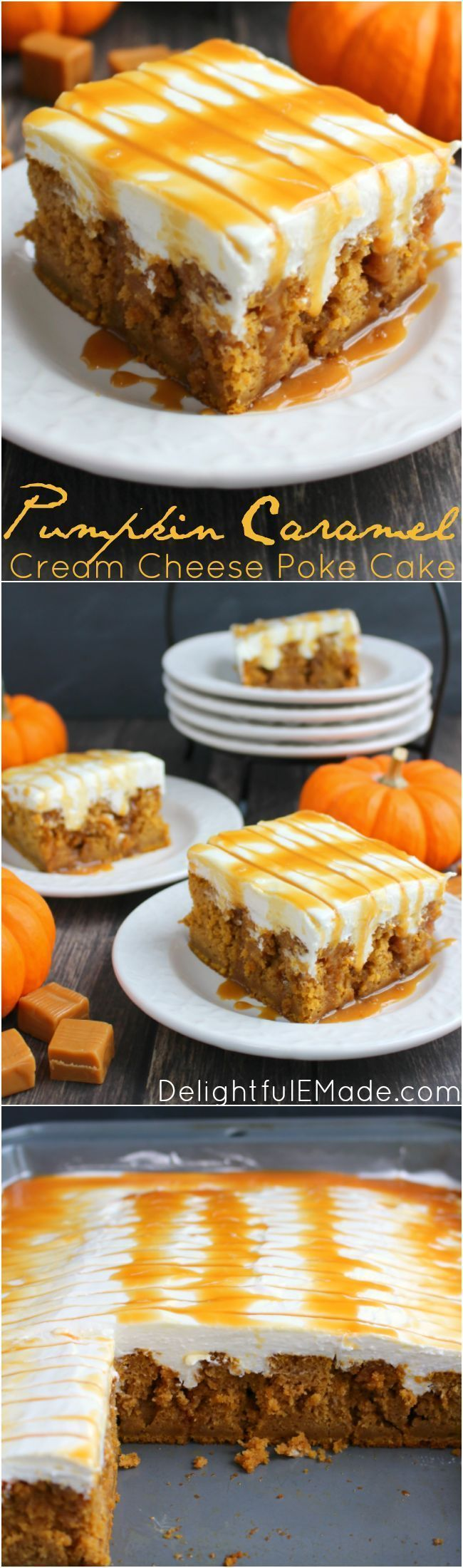 A pumpkin spice cake is drizzled with caramel sauce, frosted with a decadent cream cheese frosting and topped with even more caramel sauce!