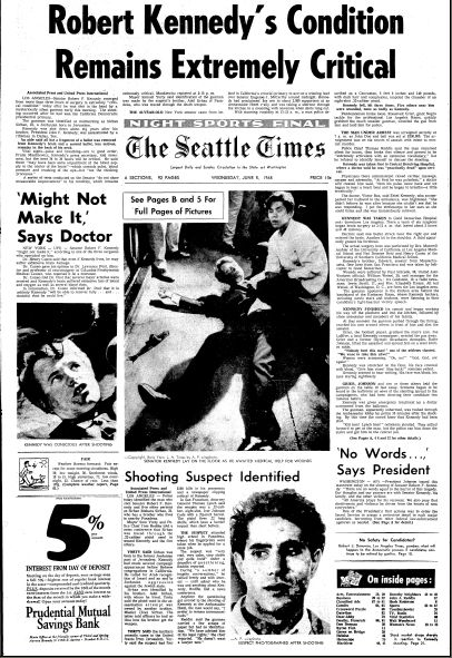 "Front page news of Robert F. Kennedy's assassination, published by the Seattle Times newspaper (Seattle, Washington), 5 June 1968. Read more on the GenealogyBank blog: ""Assassination of Robert F. Kennedy: Shot after Victory Speech."" http://blog.genealogybank.com/assassination-of-robert-f-kennedy-shot-after-victory-speech.html"