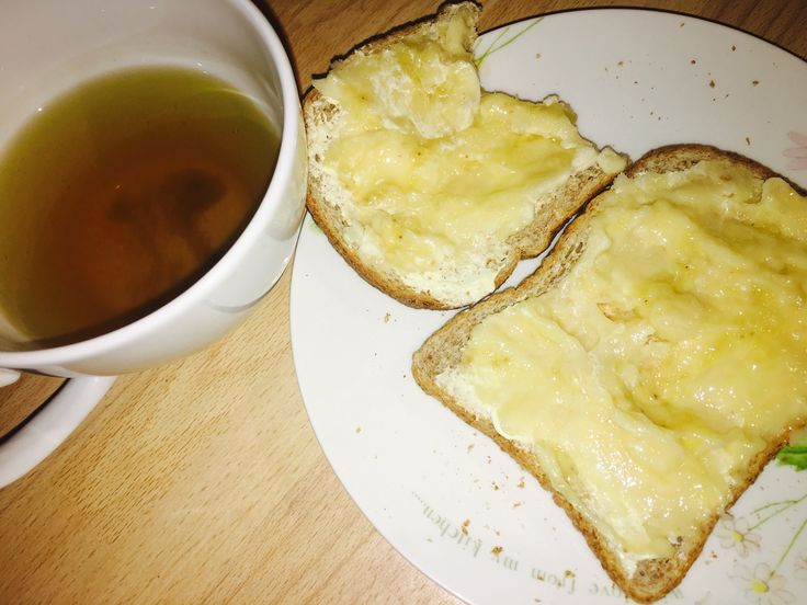 Breakfast:  Mashed banana on wholemeal toast with free from butter   Bootea detox tea