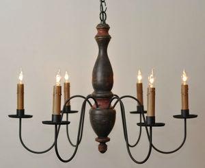 Stockbridge 6 Arm Wooden Chandelier Light Primitive Country Woodpsun Lighting