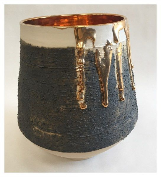 Medium Vessel with Gold Lustre Interior by Alex McCarthy