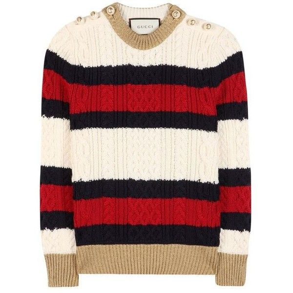 Embellished wool sweater Gucci ❤ liked on Polyvore featuring tops, sweaters, gucci sweater, thick sweaters, metallic top, cable sweater and chunky cable knit sweater