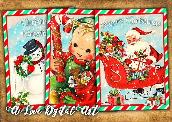 Digital collage sheet Its Christmas Time instant download