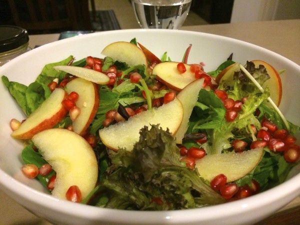 Pomegranate with Sliced Apple Salad Recipe - Arie's Kitchen
