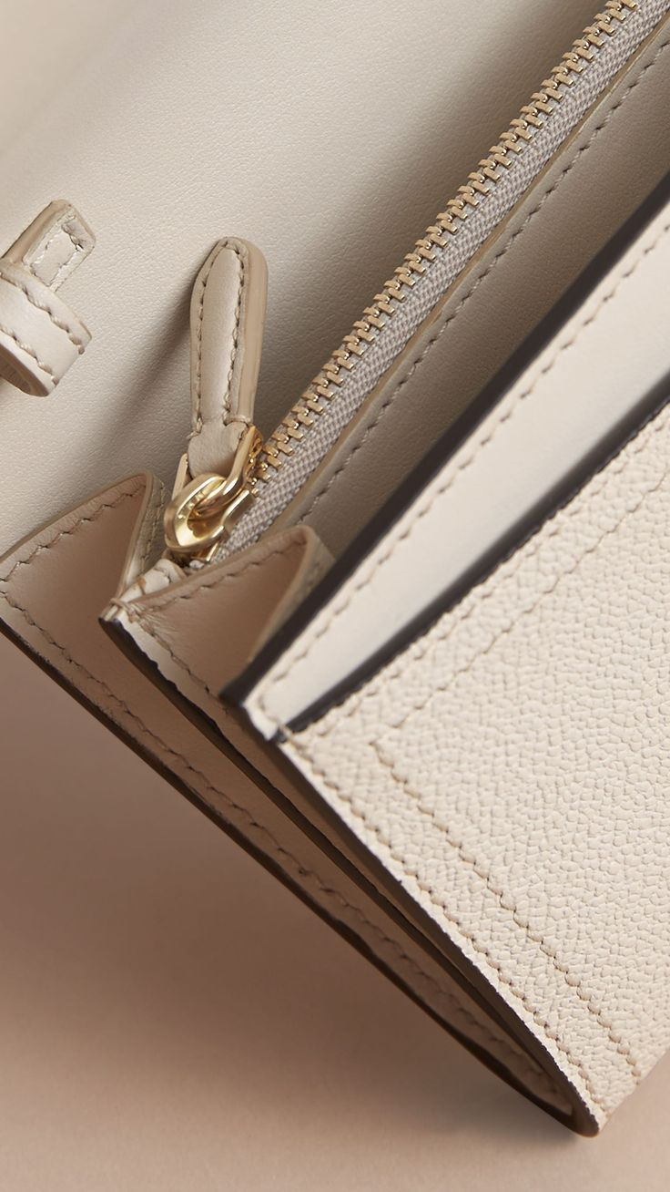 Leather Wallet with Chain in Limestone - Women | Burberry