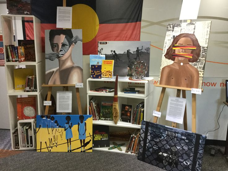 In celebration of the 2016 National NAIDOC week, the library displays year 10 art paintings of a Eurocentric view of Australia