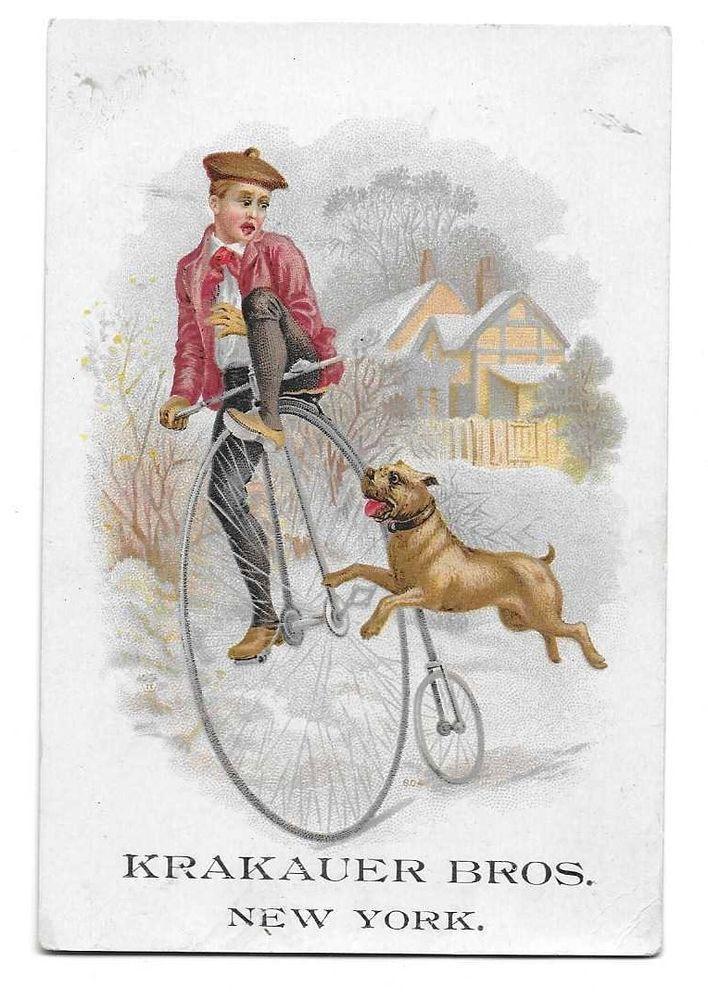 Krakauer Pianos Man on giant bike 2 wheels w/ dog  Everett Potsdam New York AD