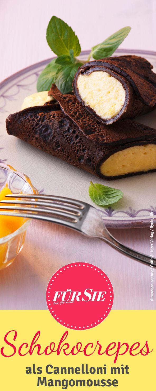 Schokocrepes-Cannelloni mit Mangomousse klingt nicht nur lecker, sondern ist es auch.