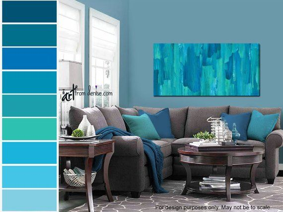 Large Abstract Canvas Wall Art Modern Teal Navy Blue Living Etsy Blue Living Room Living Room Turquoise Blue Walls Living Room