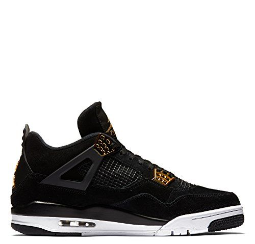 Nike Jordan Men's Air Jordan 4 Retro Black/Metallic Gold White Basketball  Shoe 10 Men