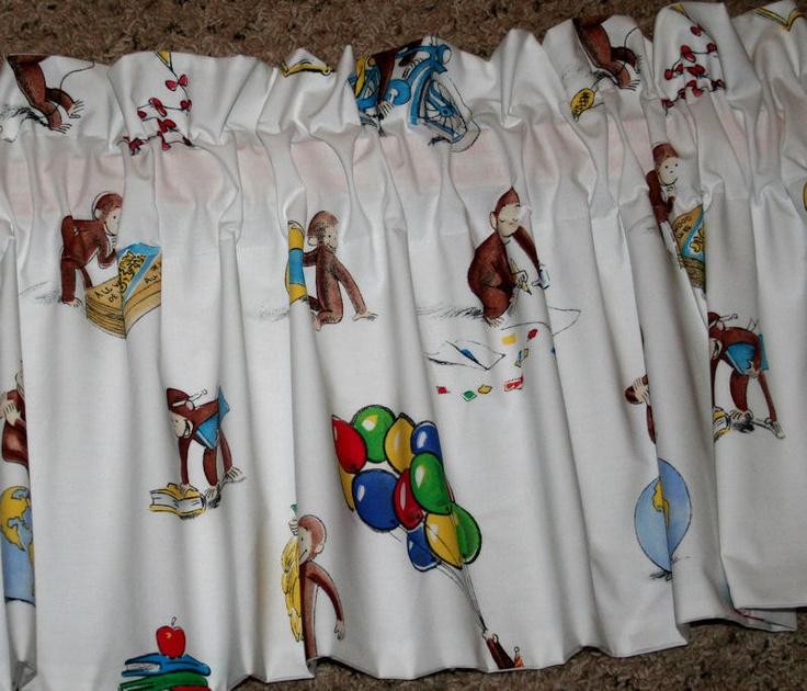 Boys Room Window Valance Made W Pottery Barn Kids CURIOUS GEORGE Monkey.  $22.00, Via