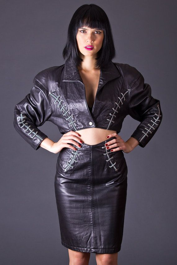 80s vintage leather cropped jacket pencil