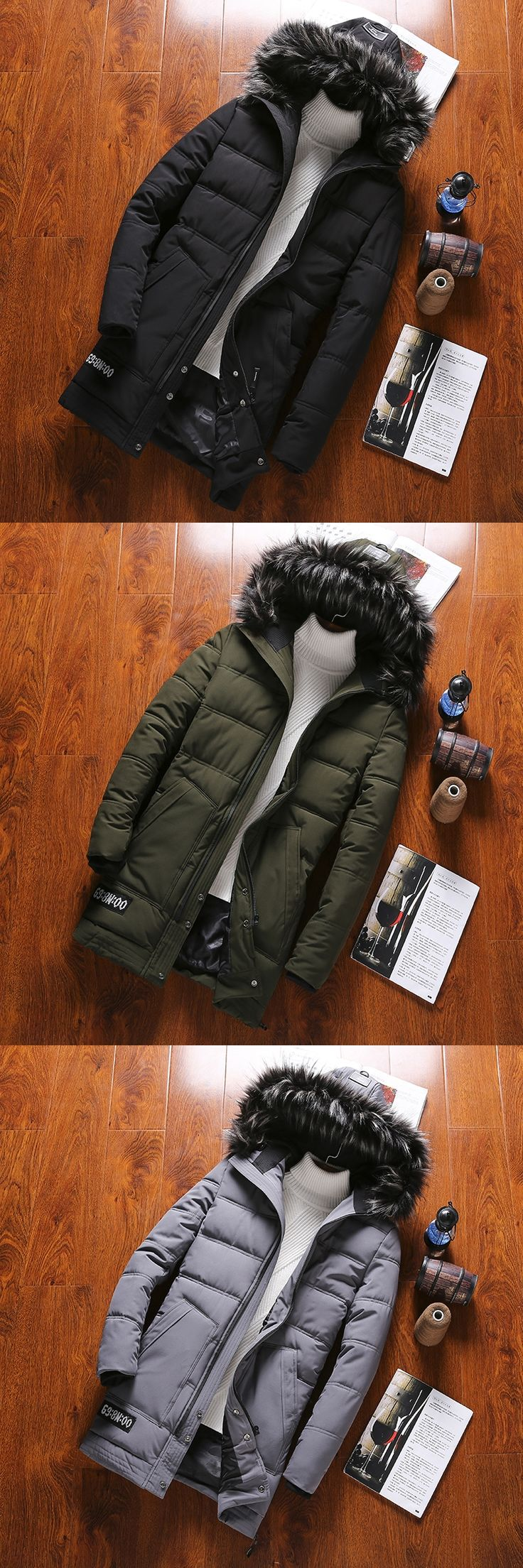 2017 Autumn And Winter New Trends Youth Style Small Fresh Casual Men's Long Coat Warm Thickened Fashion Tide Fur Collar Jacket