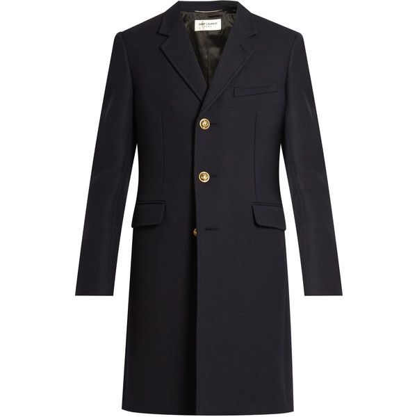 Saint Laurent Single-breasted wool and silk-blend twill coat (180.595 RUB) ❤ liked on Polyvore featuring men's fashion, men's clothing, men's outerwear, men's coats, men, yves saint laurent, navy, mens wool coat, mens military coat and mens single breasted pea coat