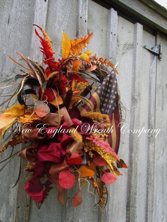 Patriotic Wreath Americana Wreath Elegant Fall Wreath