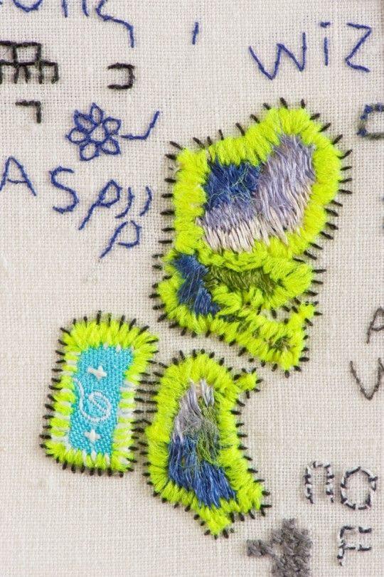 Domestic detail with fluorescent thread   Tilleke Schwarz