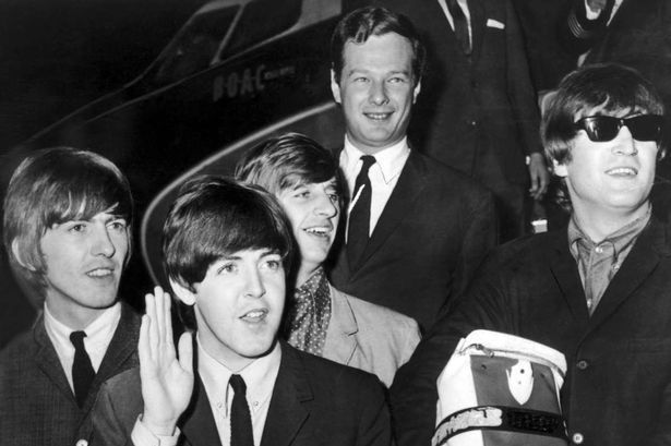 The Beatles return home after successful Summer 1964 (First) US & Canada Tour, pictured at London Heathrow Airport, 22nd September 1964. George Harrison, Paul McCartney, Ringo Starr, John Lennon, Brian Epstein.