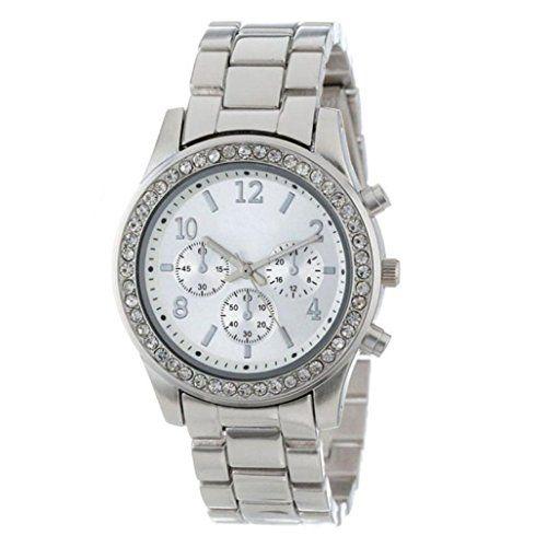 Fineshow Elegant Ladies Women's Stainless Steel Chronograph Crystals Wrist Watch