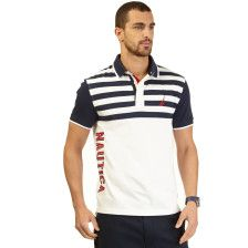 Slim Fit Striped Deck Polo Shirt - Bright White