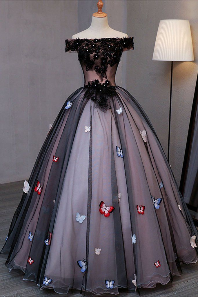 Off Shoulder black tulle long evening dress with butterflies #dresses #gowns