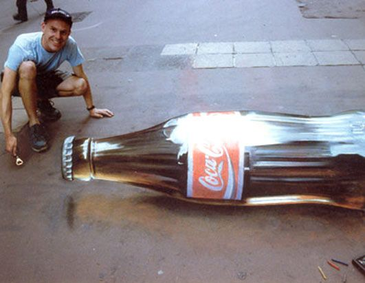 ... » 3d » ads » julian beever » Coca-Cola Bottle by julian beever