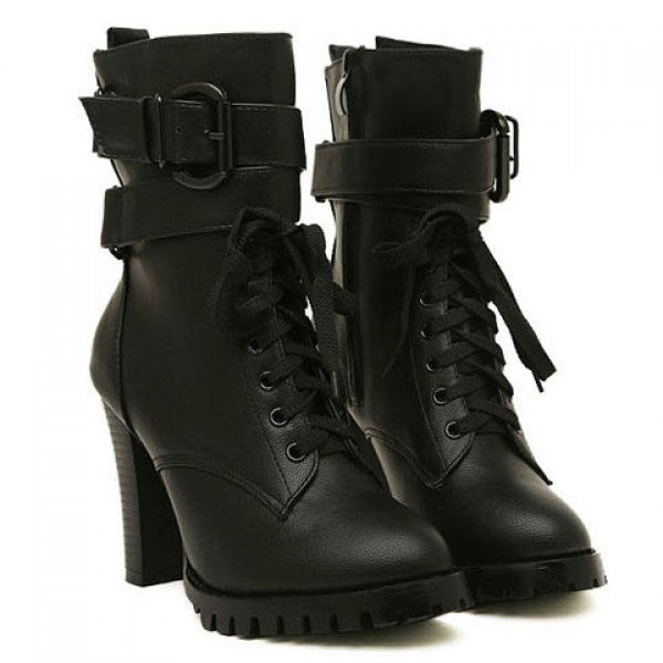 Fashion Style Chunky Heel and Buckle Design Women's Short Boots, BLACK, 39 in Boots | DressLily.com