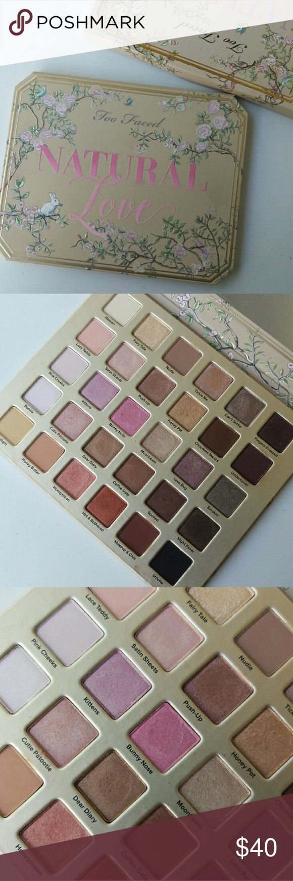 Too Faced Natural Love Palette Swatched once for a blog post and used to create a look for the blog post. Too Faced Makeup Eyeshadow