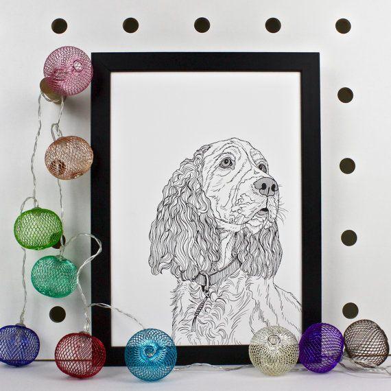 Impresión de retrato de Perro Spaniel