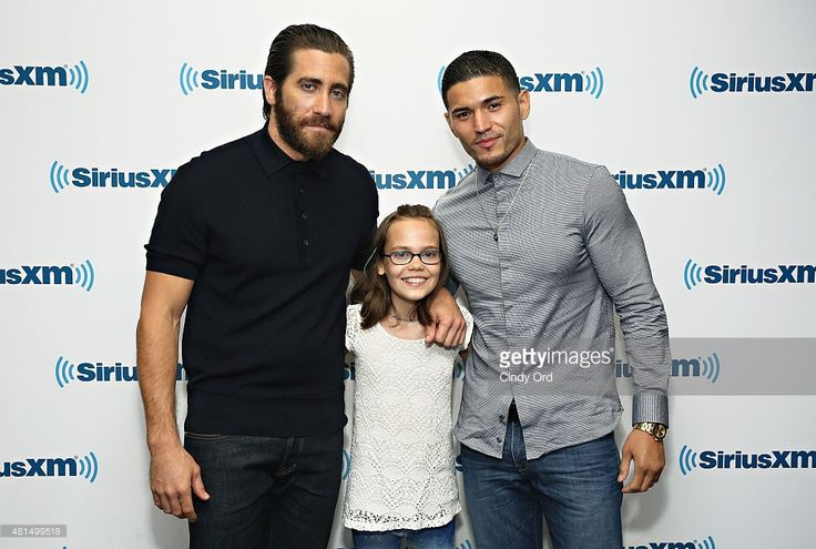 Actors Jake Gyllenhaal, Oona Laurence and Miguel Gomez take part in SiriusXM's Entertainment Weekly Radio 'Southpaw' Town Hall with Jake Gyllenhaal, Oona Laurence and Miguel Gomez hosted by Jess Cagle on July 21, 2015 in New York City.