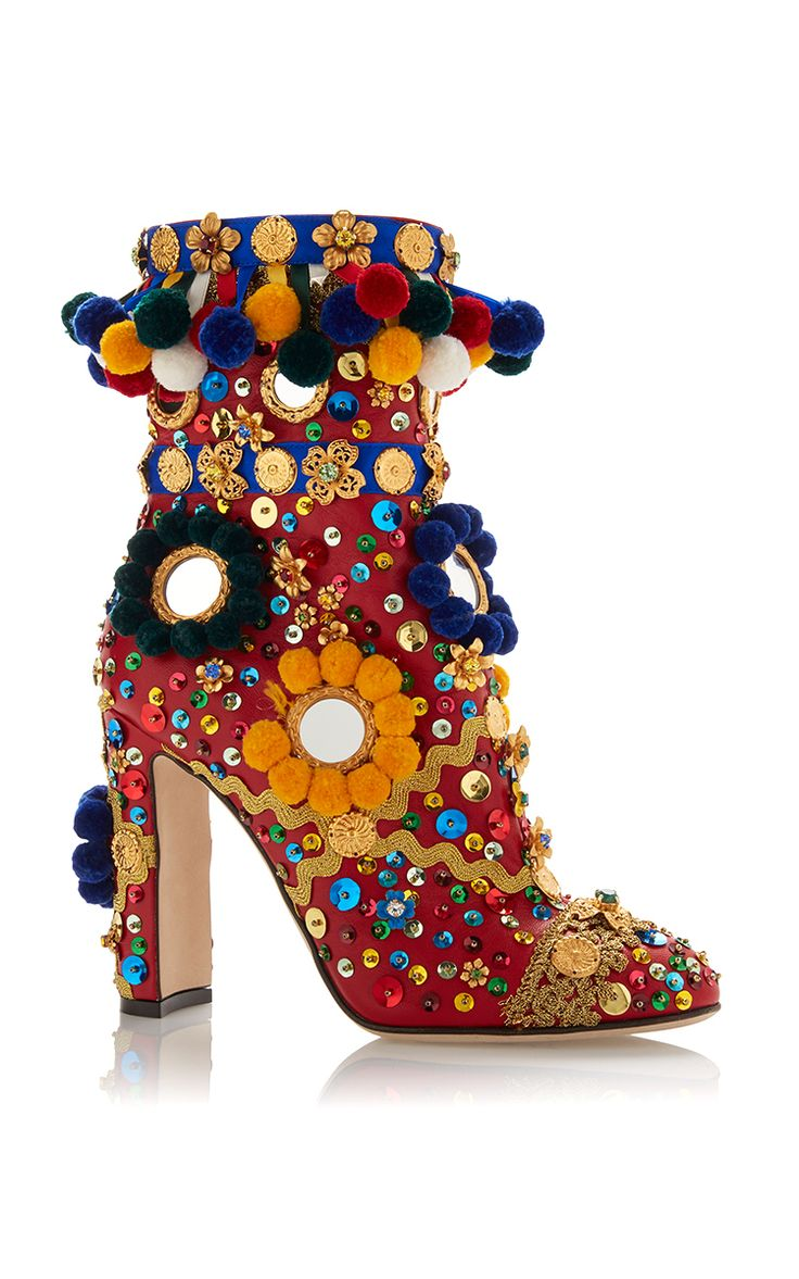 Multicolored Pom Pom Boot by DOLCE & GABBANA